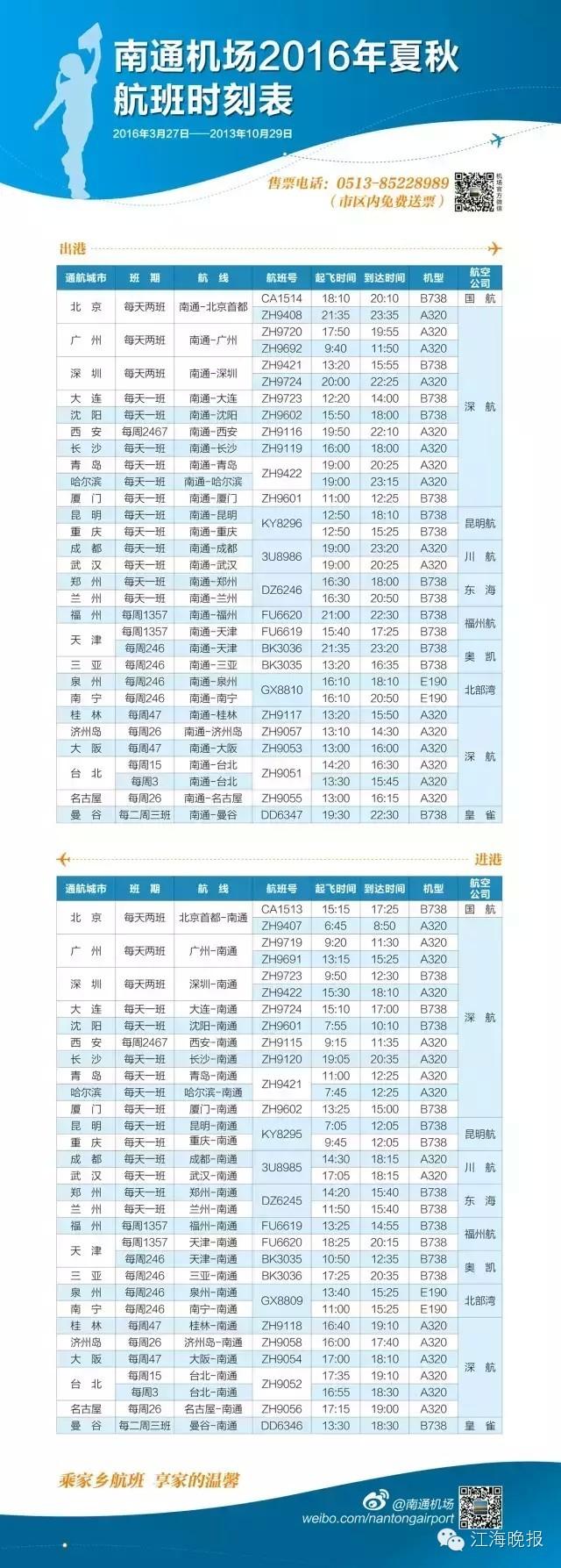 南通机场开始执行2016夏秋季航班时刻表!